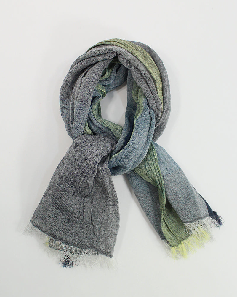 Kobo Oriza Crinkled Linen Cotton Shawl Green and Blue