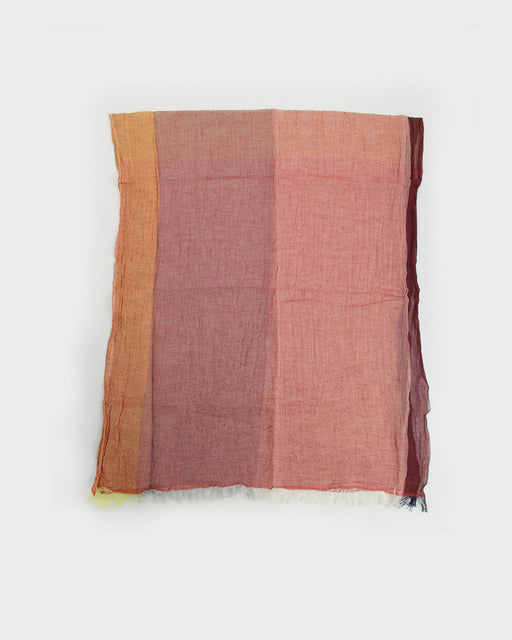 Kobo Oriza Crinkled Linen Cotton Shawl Orange and Red