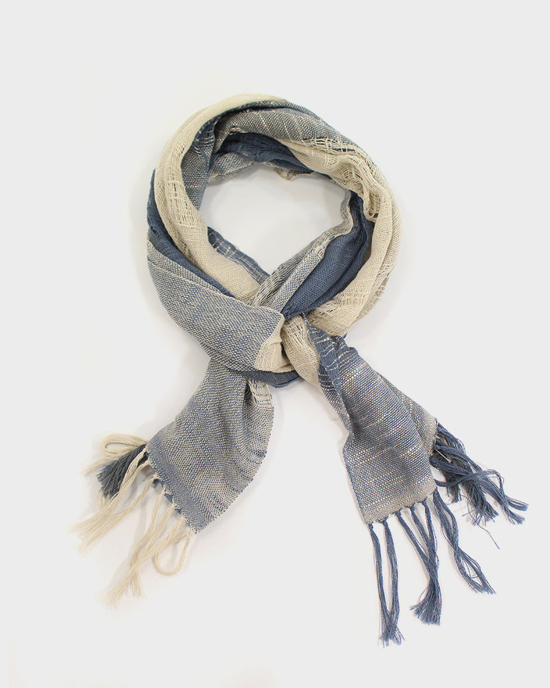 Kobo Oriza Cream and Blue Grey Slub Scarf