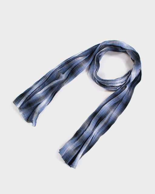 Kiji Scarf With Shijira Weave Summer Scarf With Navy & Black Plaid