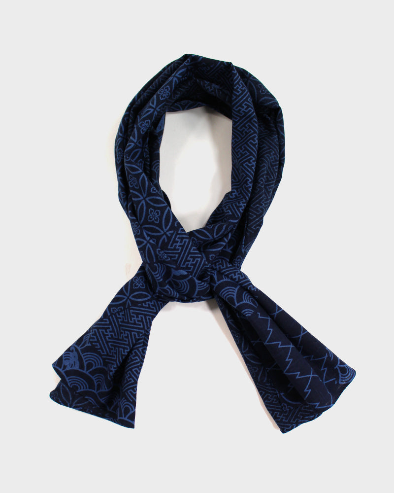 Navy and Blue Large Multi Pattern Scarf