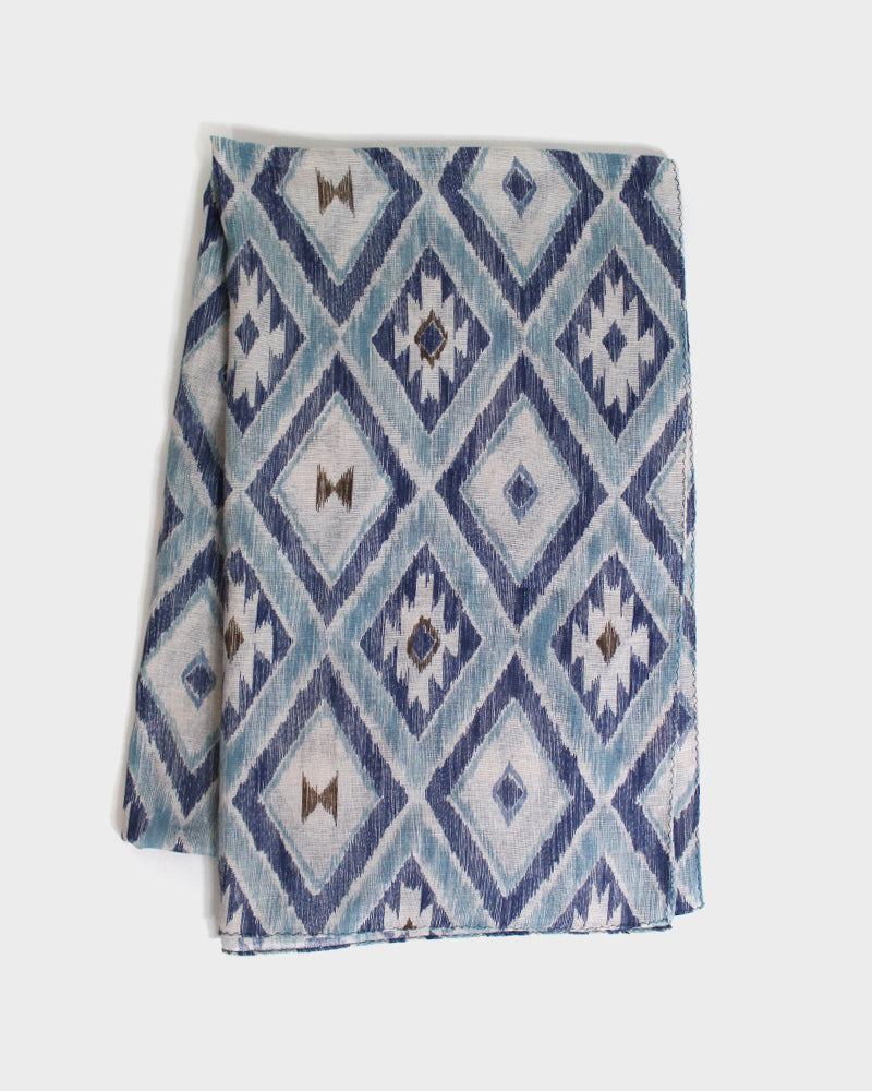Gauze Scarf, Abstract Geometric Pattern, Blue