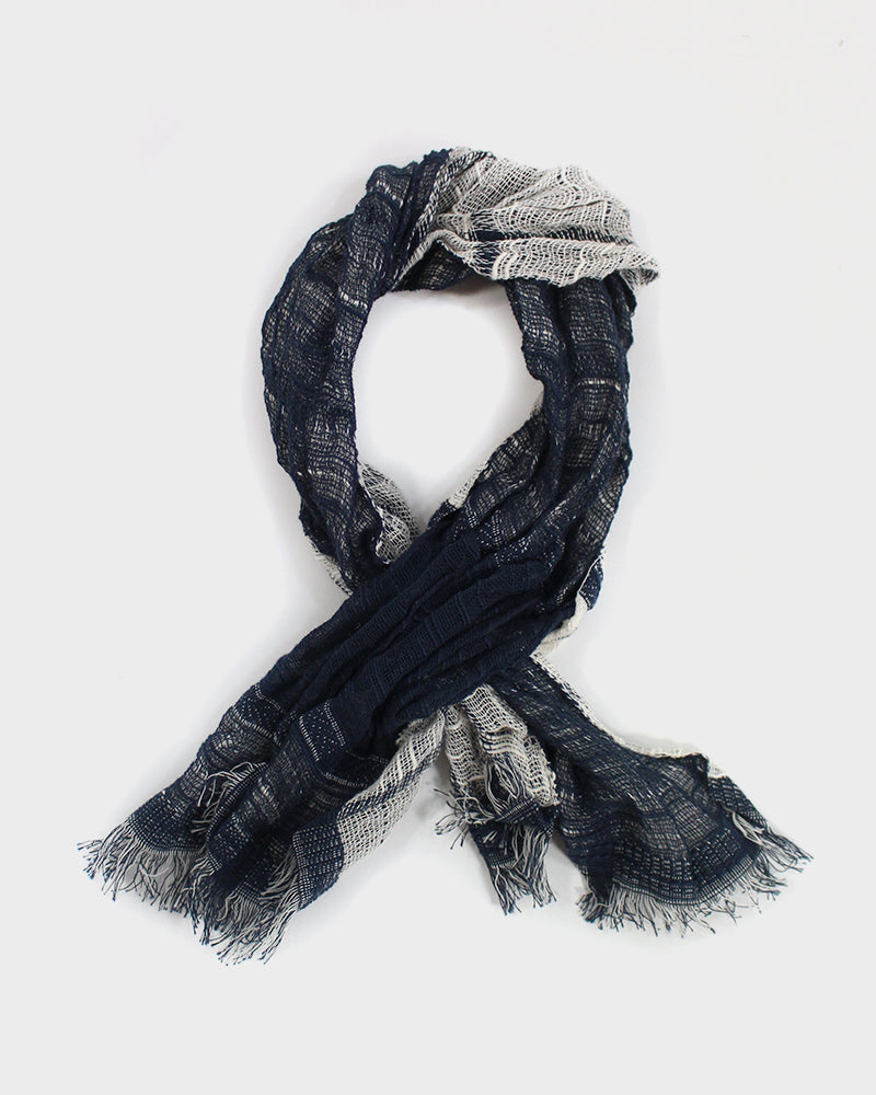 Kobo Oriza Easy Knot Scarf Indigo and Cream