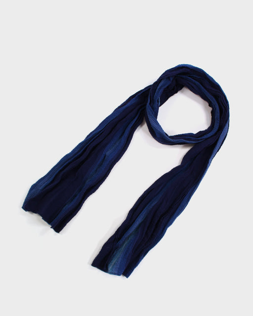 Kiji Scarf With Shijira Weave Summer Scarf With Navy & Indigo Shima