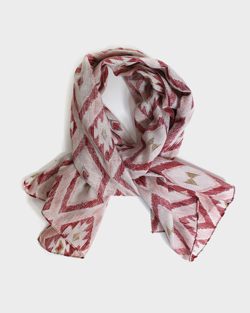 Gauze Scarf, Abstract Geometric Pattern, Brick Red