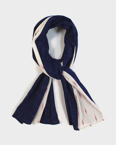 Triple Split Scarf Blue and White with Red Kasuri