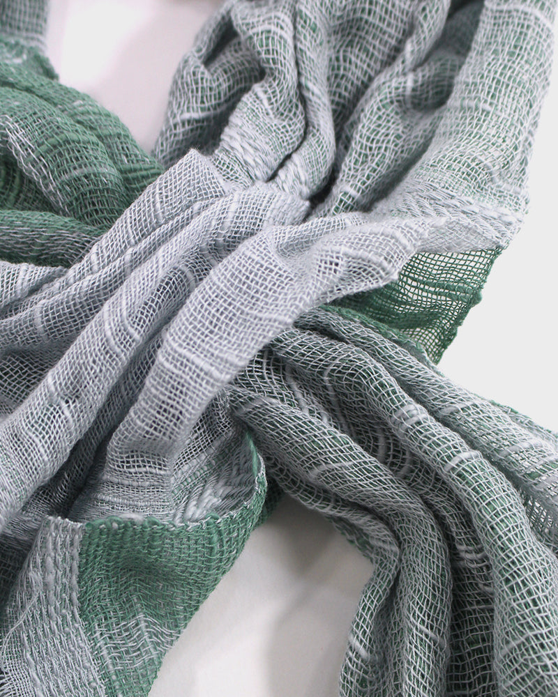 Kobo Oriza Easy Knot Scarf Green and Grey