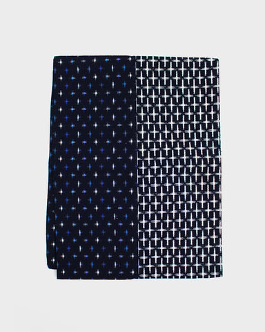 Double Split Kasuri-Ori Scarf, Blue and White Cross Weave
