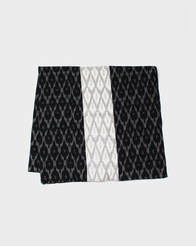 Triple Split Scarf Black and White Ikat