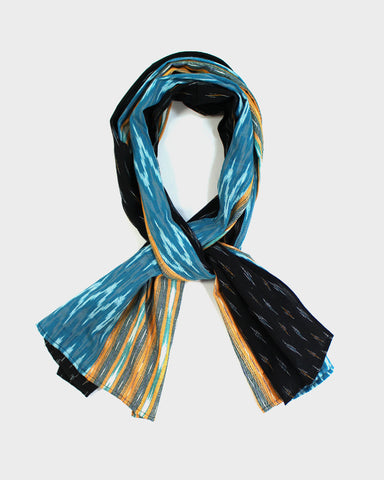 Triple Split Scarf Yellow, Teal and Black Ikat