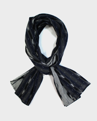 Triple Split Scarf Grey and Blue Shima