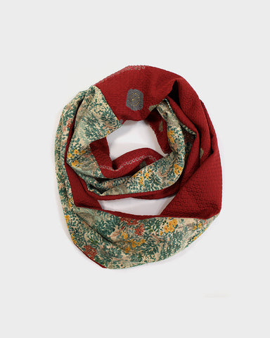 Silk Kimono Red and Green Floral Infinity Scarf