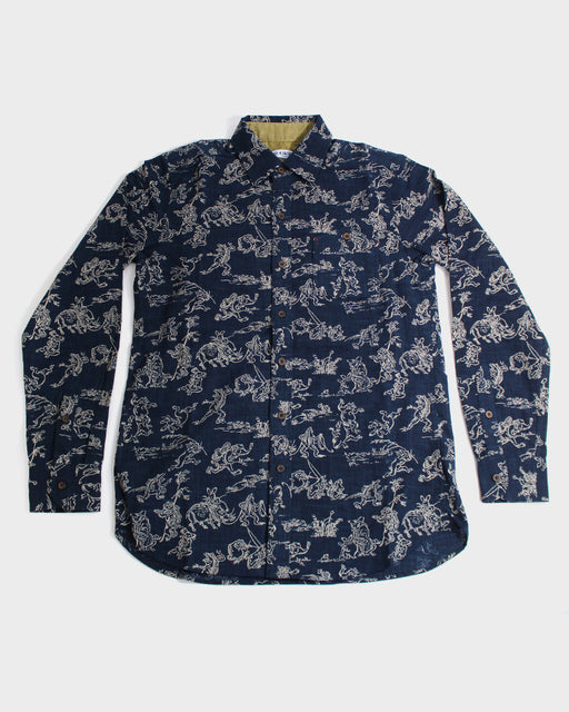 Button-Up Shirt, Long Sleeve, Indigo Choju-Giga