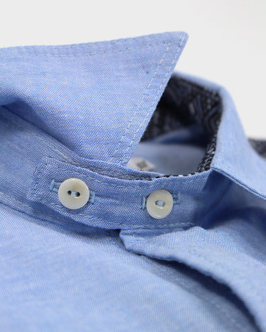 Short Sleeve Button-Up Shirt Yukata Blue Chambray, Diamonds