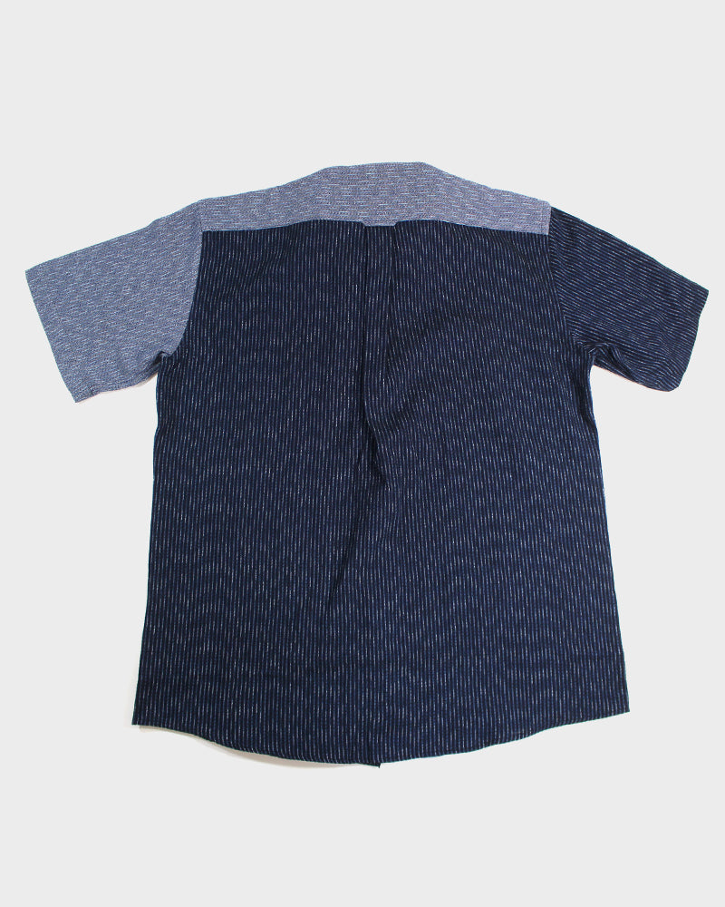 Button-Up Shirt, Nashij & Shijira Indigo Color Block Shima