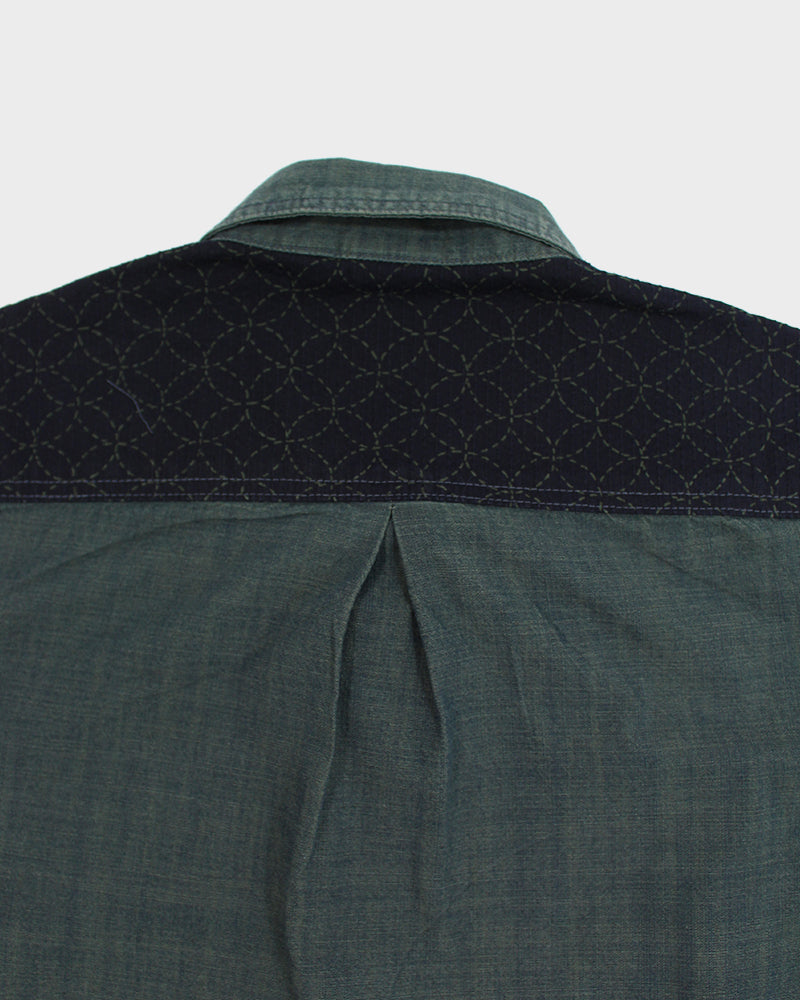 Overdyed Custom Chambray Shirt, Teal Shippou