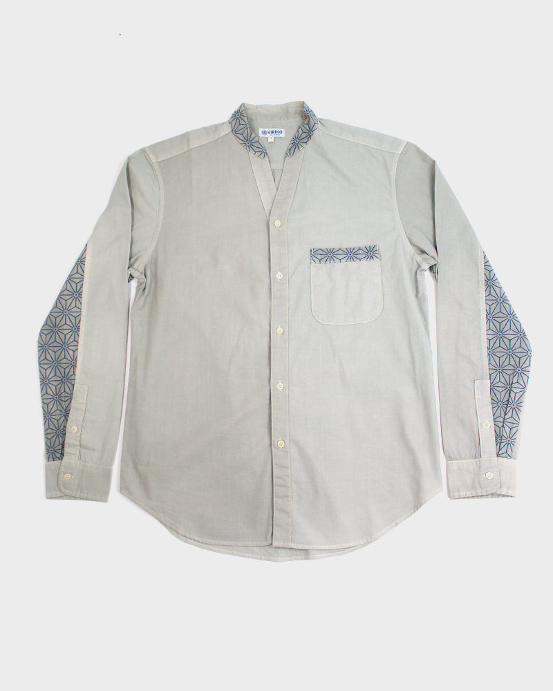 Button-Up Shirt, Mandarin Collar, V-Neck, Long Sleeve, Fern and Indigo Asanoha