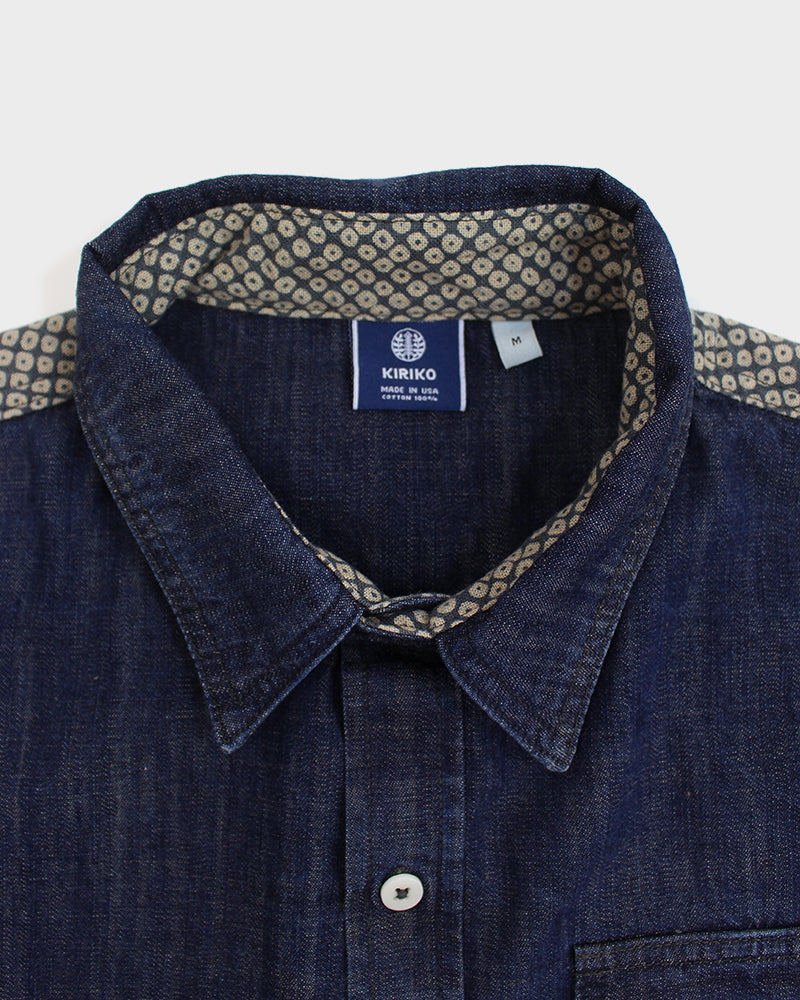 Stone Washed Chambray Shirt, Shibori