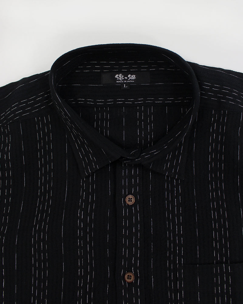 Short Sleeve Button-Up Black Varied Shima