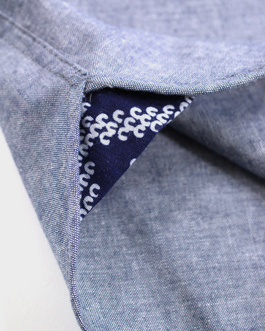 Short Sleeve Button-Up Shirt Yukata Grey Chambray, Shibori Print