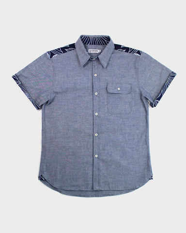 Short Sleeve Button-Up Shirt Yukata Grey Chambray, Floral