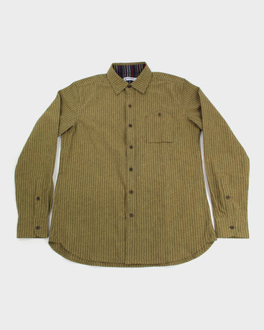Button-Up Shirt Long Sleeve Green Sashiko