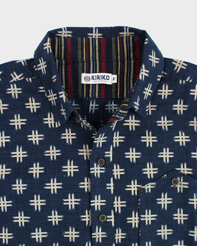 Button-Up Shirt Short Sleeve Traditional Igeta Pattern
