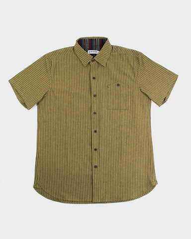 Button-Up Shirt Short Sleeve Green Sashiko
