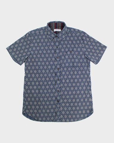 Button-Up Shirt Short Sleeve Asanoha