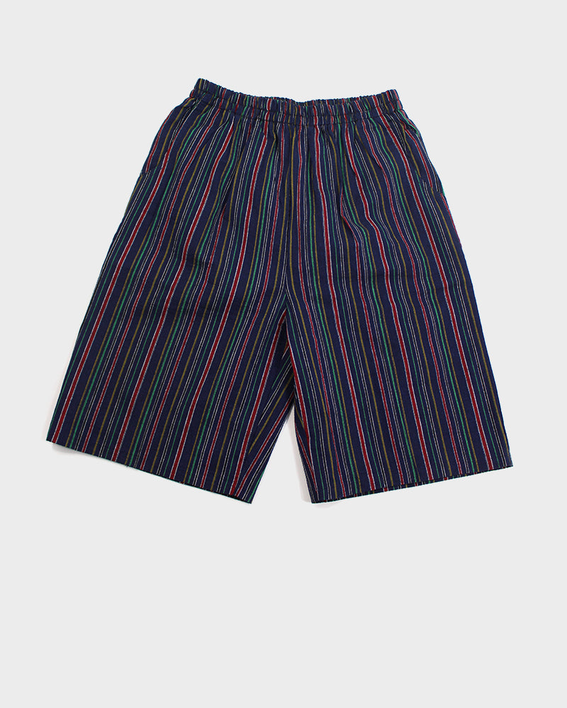 Shijira Shorts, Indigo with Multi-Colored Shima