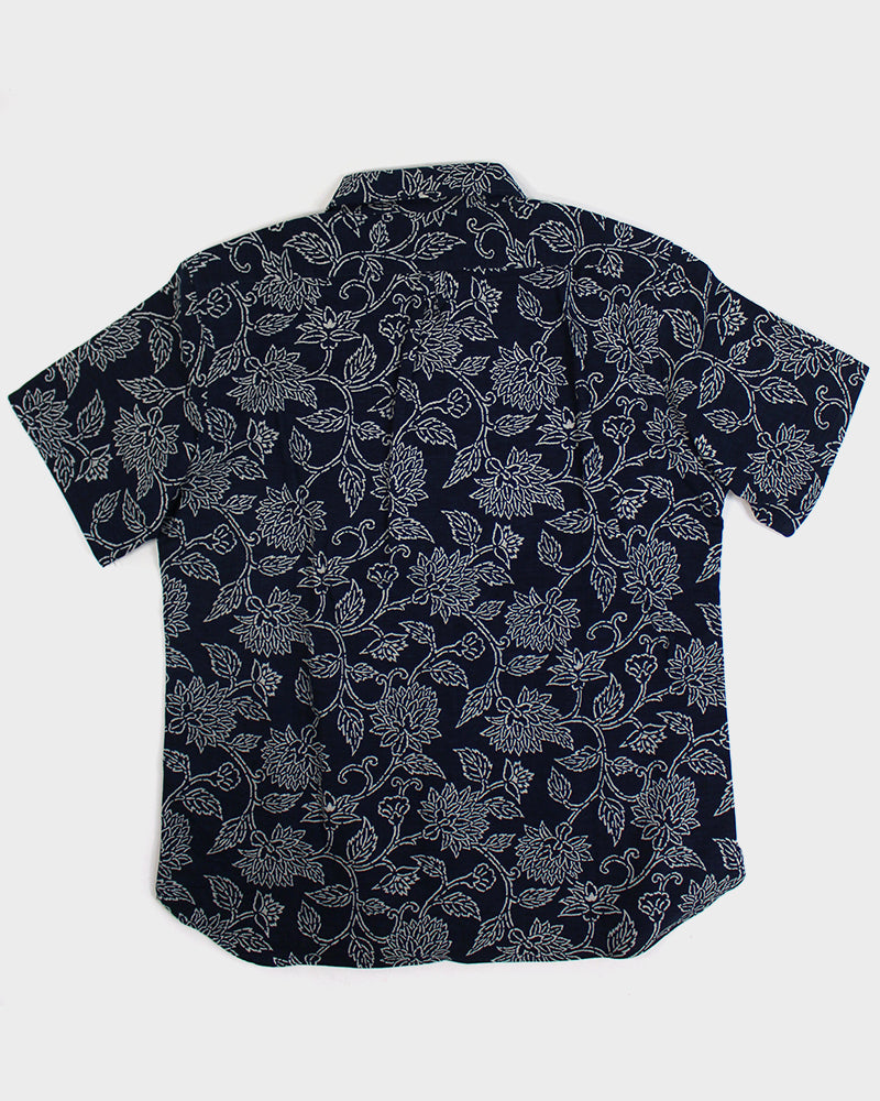 Button-Up Shirt Short Sleeve Indigo Katazome Floral