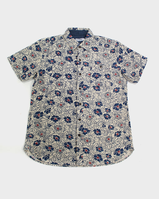 Button-Up Shirt Short Sleeve White and Indigo Tsubaki