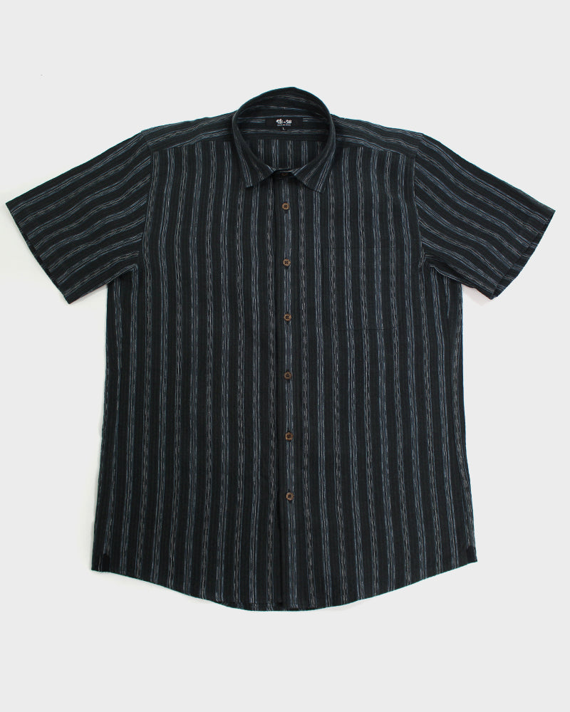 Button-Up Shirt Short Sleeve, Grey Shima