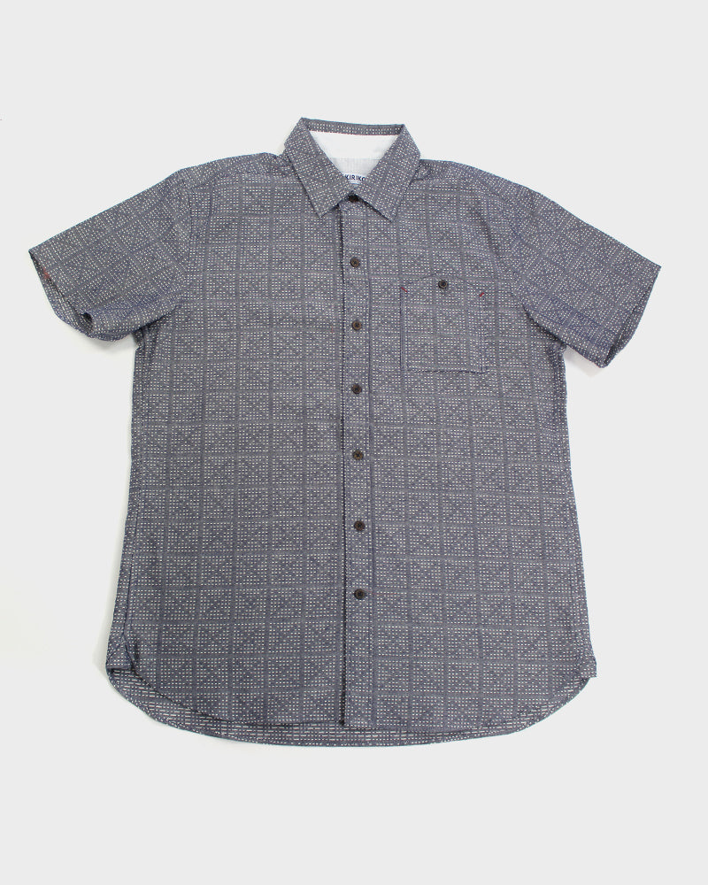 Button-Up Shirt Short Sleeve Grey Sashiko Crosses