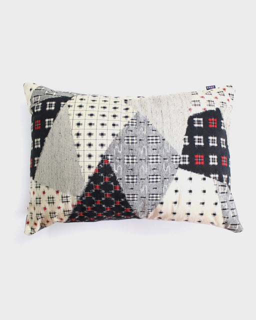 Cream, Black and Red Multi Kasuri Pillow