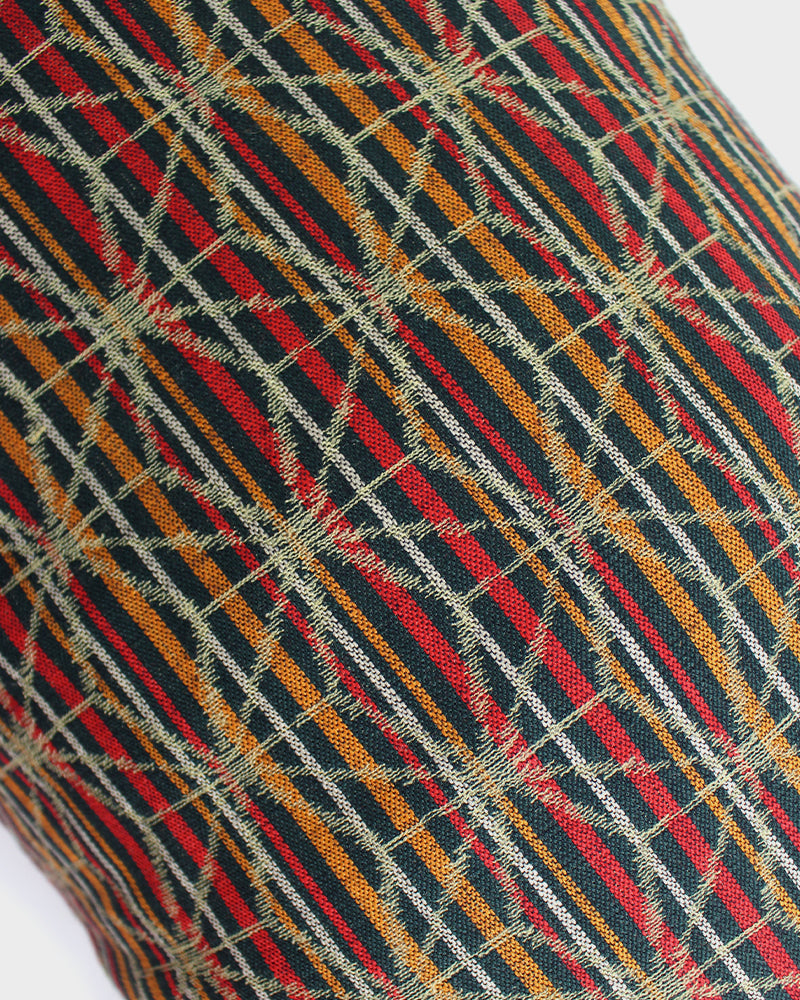 Green, Orange and Red Kasuri with Shima, Pillow