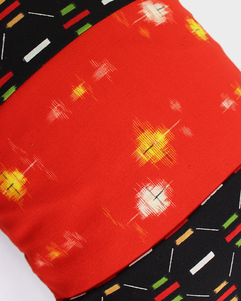 Patchwork Pillow, Red and Yellow Kasuri, Black and Green Abstract Blocks, Small