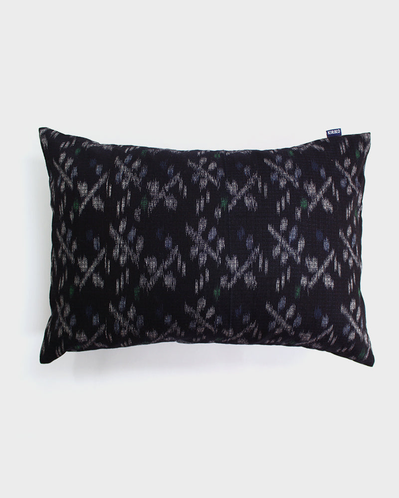 Indigo, Cream and Green Kasuri Abstract Floral Pillow