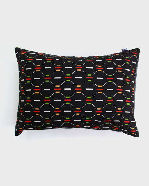 Black and Green Abstract Blocks Pillow