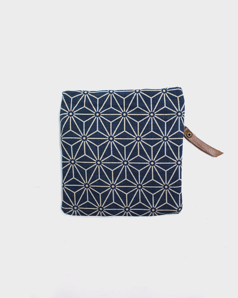 Flat Small Zipper Pouch, Indigo Small Asanoha