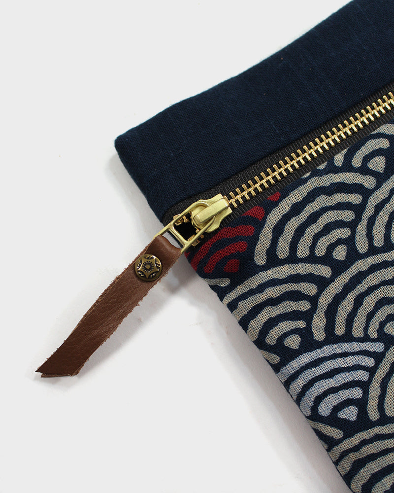 Flat Small Zipper Pouch, Indigo, Cream and Red Seigaiha