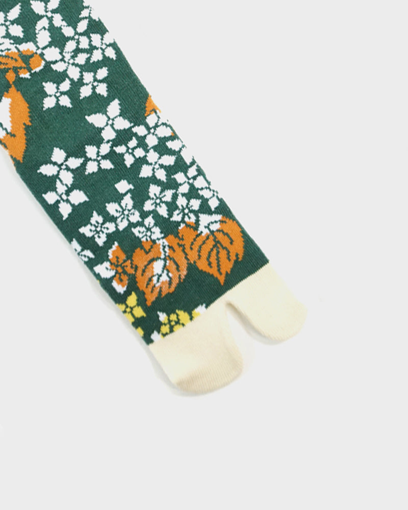 Tabi Socks, Green and Cream, Autumn Leaves and Flowers  (S/M)