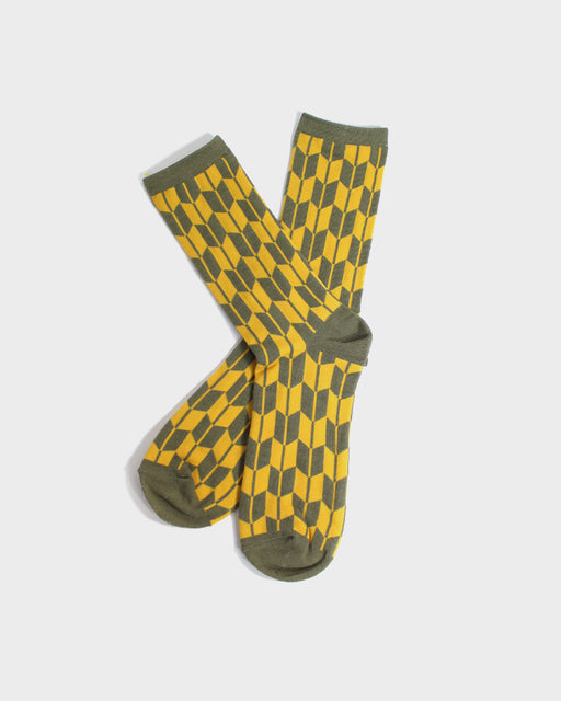 Yagasuri Socks, Custard & Sage