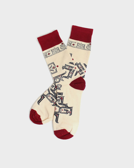 Ainu Socks, Cream and Red