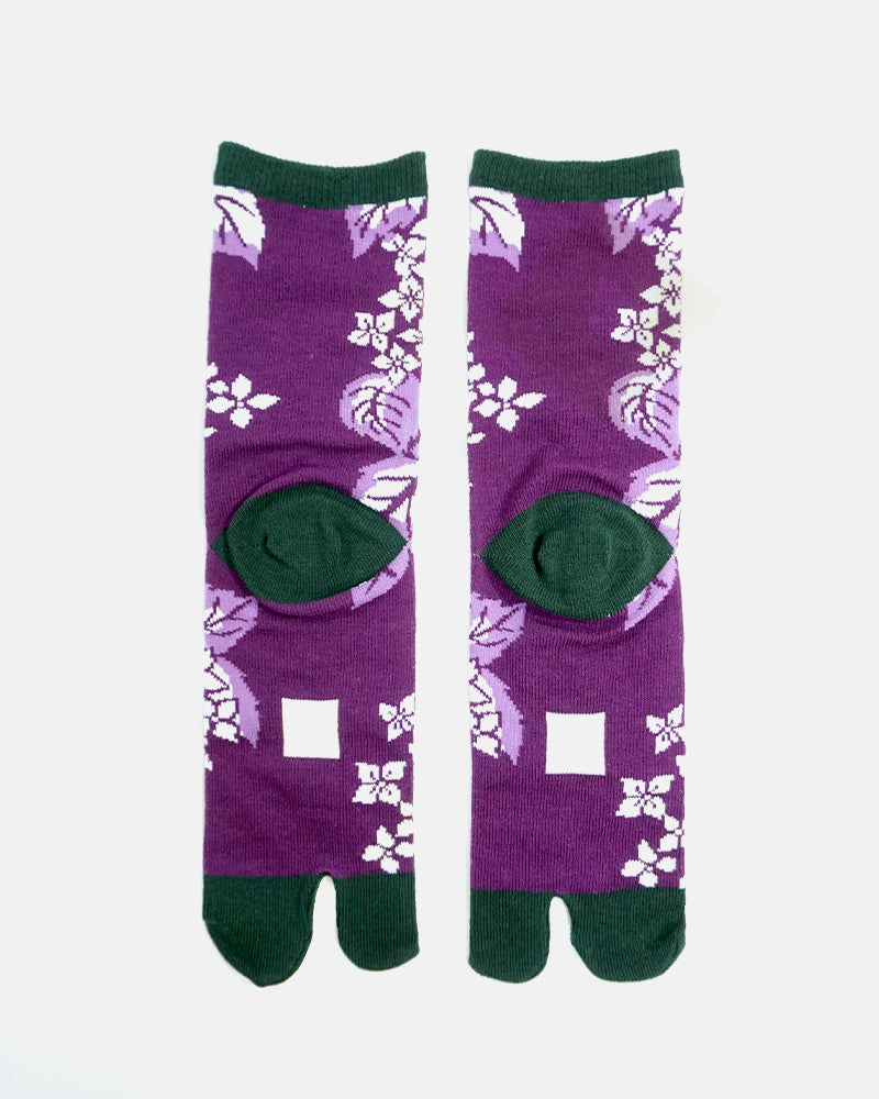 Tabi Socks, Purple and Green, Autumn Flower and Leaves (S/M)