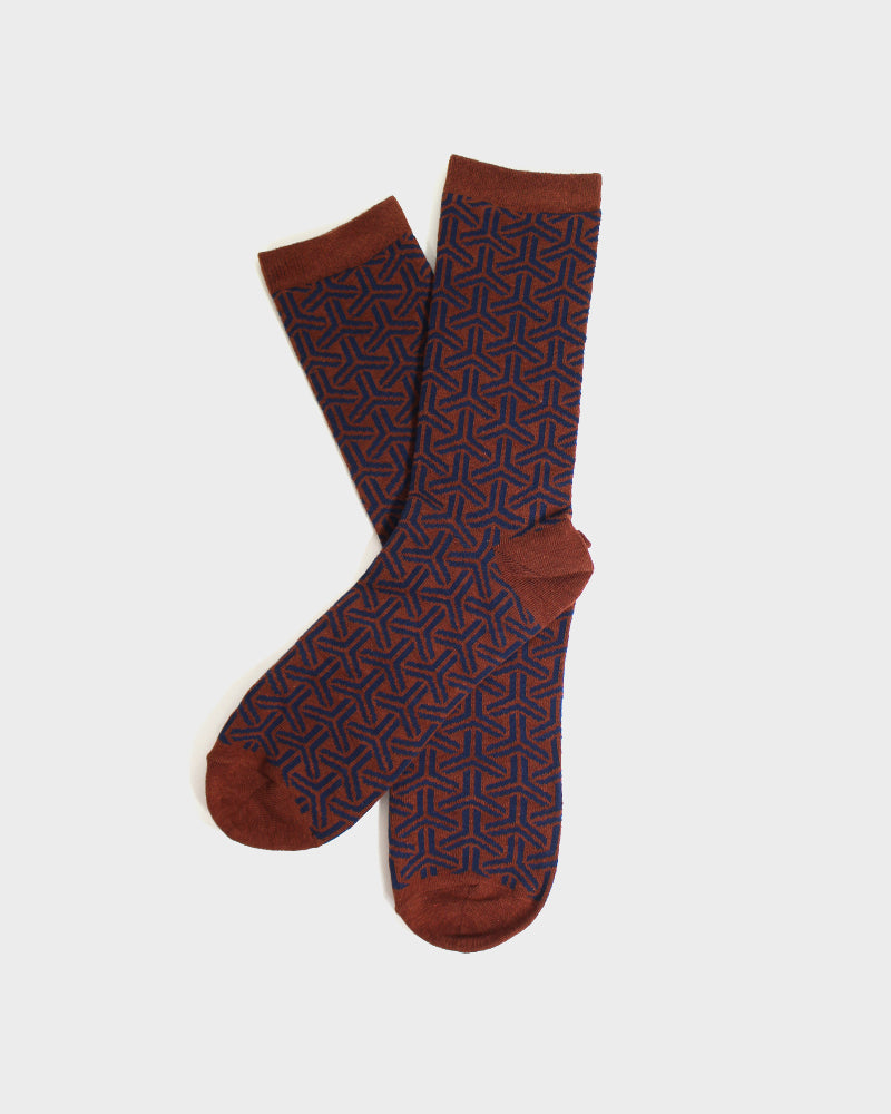 Bishamon Kikko Socks, Brick & Blue