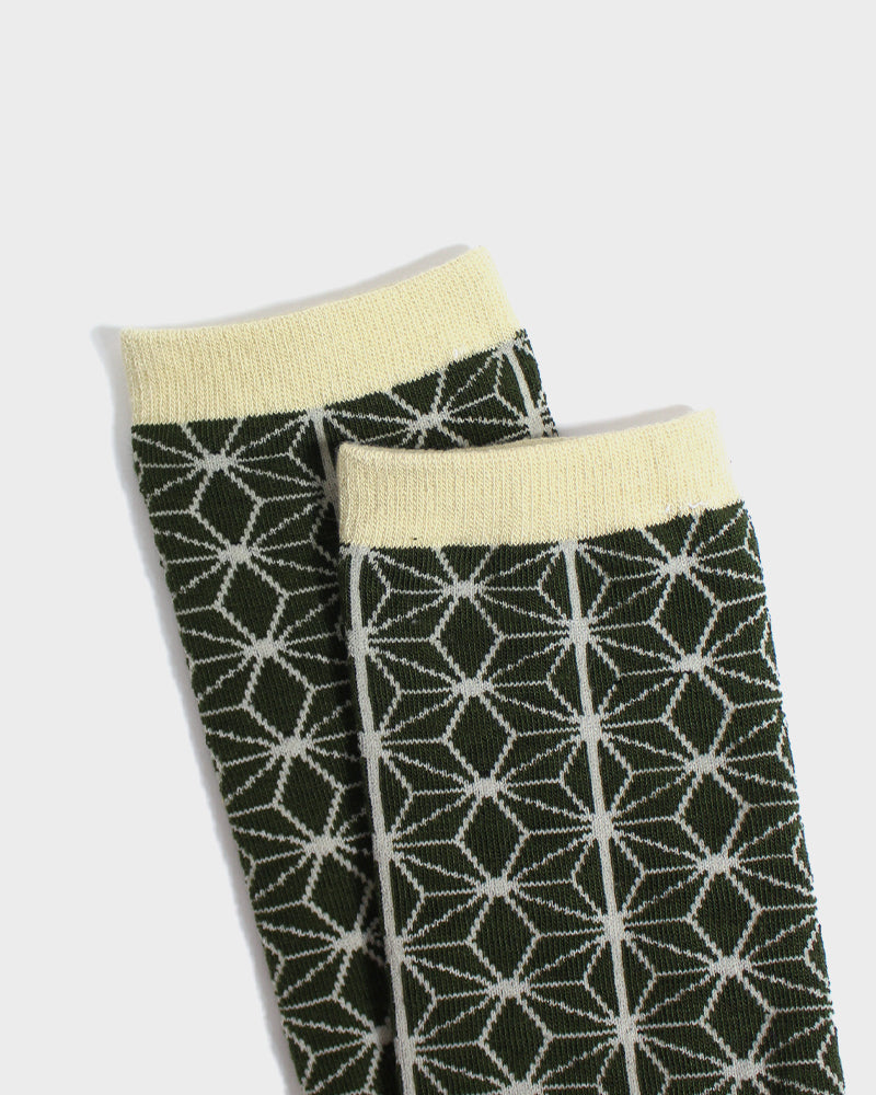 Asanoha Socks, Matcha & Cream