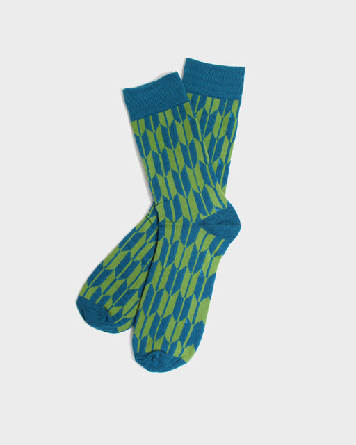 Yagasuri Socks, Green and Teal
