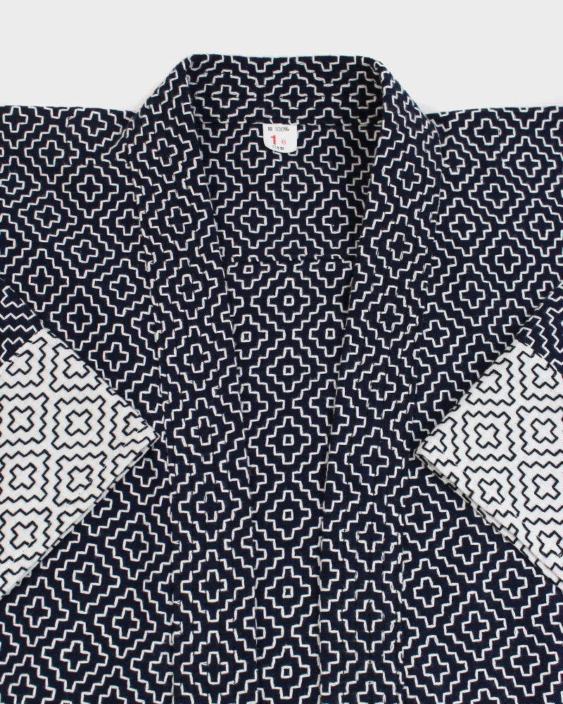 Kendo Jacket, Navy and White Hitomezashi Split 01
