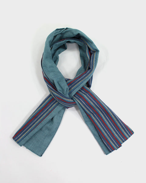 Split Scarf, Teal and Stripes